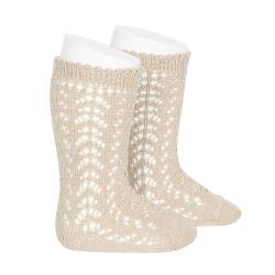 Cotton openwork knee-high socks LINEN