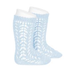 Cotton openwork knee-high socks BABY BLUE