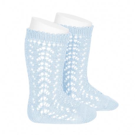 Calcetines altos algodón calado AZUL BEBE