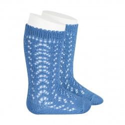 Cotton openwork knee-high socks MAYAN
