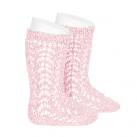 Cotton openwork knee-high socks PINK