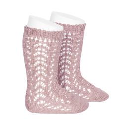 Cotton openwork knee-high socks PALE PINK