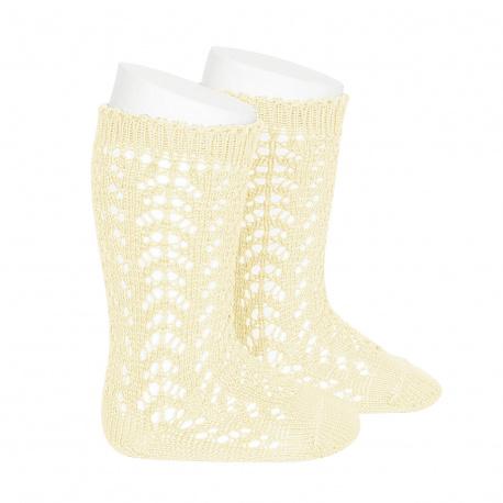 Calcetines altos algodón calado MANTEQUILLA