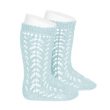 Chaussettes hautes coton ajourée AIGUE-MARINE
