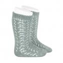 Chaussettes hautes coton ajourée VERT SEC