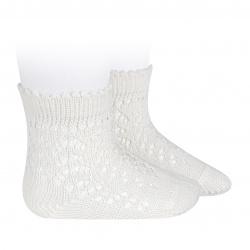 Cotton openwork short socks CREAM