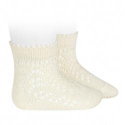 Chaussettes courtes coton ajourée ECRU