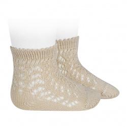 Calcetines cortos de perlé calados LINO