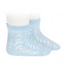 Calcetines cortos de perlé calados AZUL BEBE