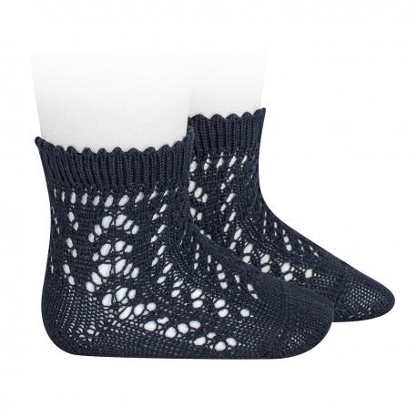 Chaussettes courtes coton ajourée BLEU MARINE