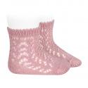 Calcetines cortos de perlé calados ROSA PALO