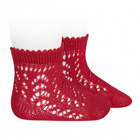 Cotton openwork short socks RED