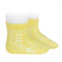 Cotton openwork short socks LIMONCELLO