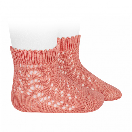 Calcetines cortos de perlé calados PEONIA
