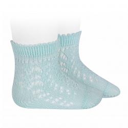 Cotton openwork short socks AQUAMARINE