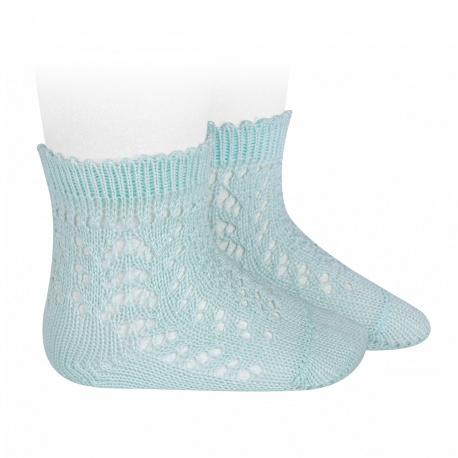 Calcetines cortos de perlé calados AGUAMARINA