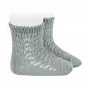 Chaussettes courtes coton ajourée VERT SEC