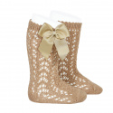Cotton openwork knee-high socks with bow CAMEL