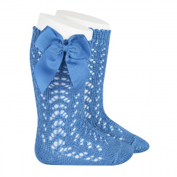Cotton openwork knee-high socks with bow MAYAN