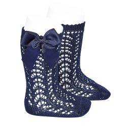 Cotton openwork knee-high socks with bow NAVY BLUE