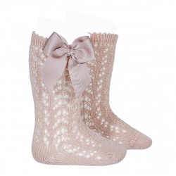 Cotton openwork knee-high socks with bow OLD ROSE