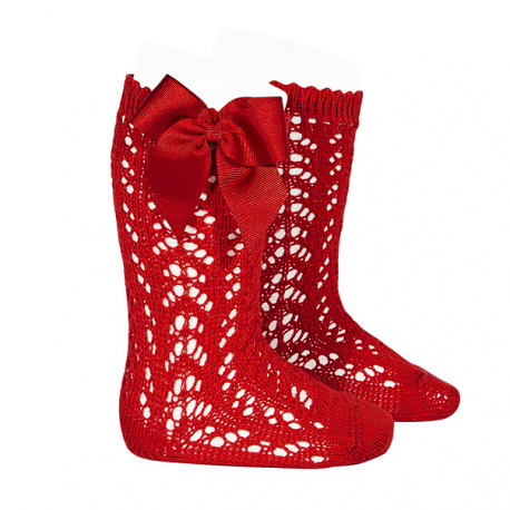 Cotton openwork knee-high socks with bow RED