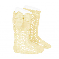 Cotton openwork knee-high socks with bow BUTTER