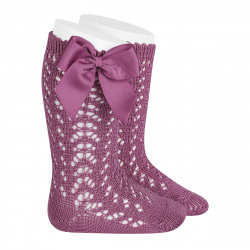 Cotton openwork knee-high socks with bow CASSIS
