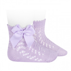 Cotton openwork short socks with bow MAUVE