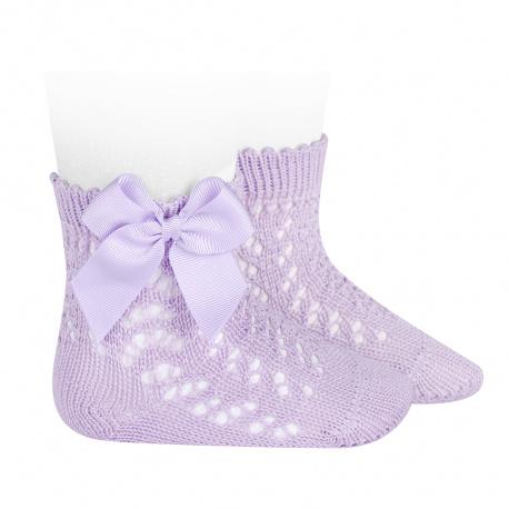 Calcetines cortos de perlé calados con lazo MALVA