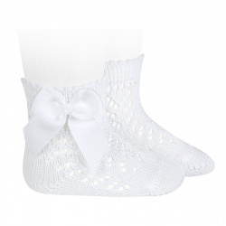 Cotton openwork short socks with bow WHITE
