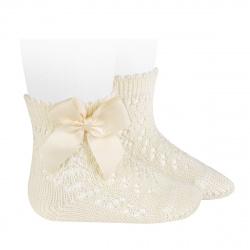 Cotton openwork short socks with bow BEIGE