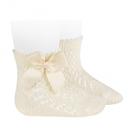 Calcetines cortos de perlé calados con lazo CAVA