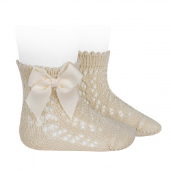 Cotton openwork short socks with bow LINEN