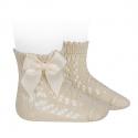 Calcetines cortos de perlé calados con lazo LINO