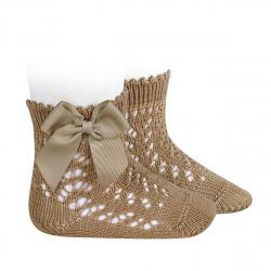 Calcetines cortos de perlé calados con lazo CAMEL