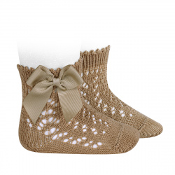 Cotton openwork short socks with bow CAMEL