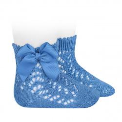 Calcetines cortos de perlé calados con lazo MAYA