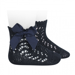 Cotton openwork short socks with bow NAVY BLUE