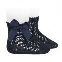 Chaussettes courtes coton ajourée avec noeud BLEU MARINE