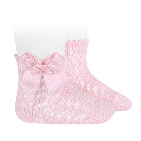 Chaussettes courtes coton ajourée avec noeud ROSE