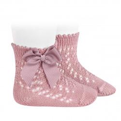 Chaussettes courtes coton ajourée avec noeud PALE ROSE