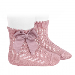 Cotton openwork short socks with bow PALE PINK