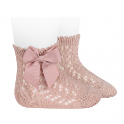 Cotton openwork short socks with bow OLD ROSE