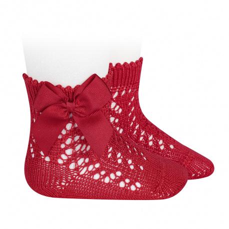Calcetines cortos de perlé calados con lazo ROJO