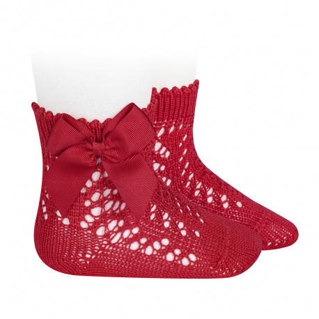 Cotton openwork short socks with bow RED
