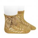 Cotton openwork short socks with bow MUSTARD