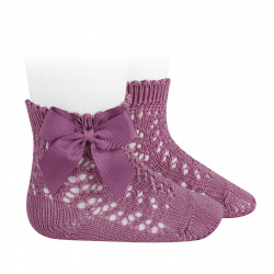 Chaussettes courtes coton ajourée avec noeud CASSIS