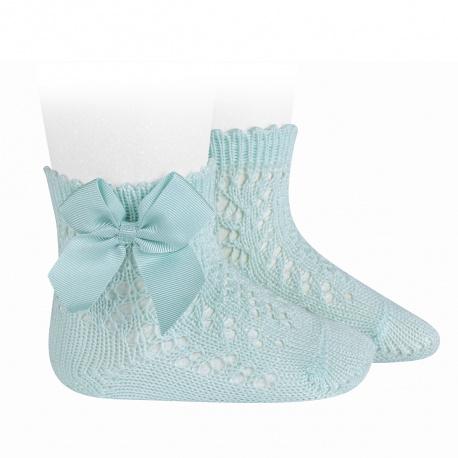 Calcetines cortos de perlé calados con lazo AGUAMARINA