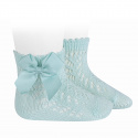 Cotton openwork short socks with bow AQUAMARINE